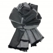 Checked Reversible Scarf Charcoal/Light Grey