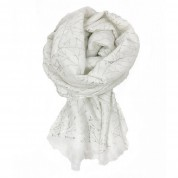Scarf-White Silver Leaves