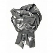 Scarf-Silver Grey large Foil Leaves