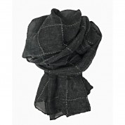 Scarf-Charcoal Grey Gold Thread Check