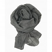 Scarf-Silver Grey Gold thread Check