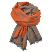 Checked Reversible Scarf Orange and Beige