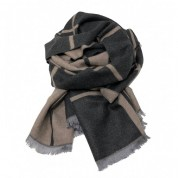 Checked Reversible Scarf Charcoal/Beige