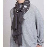 Scarves- Feather Metallic Silver Printed Scarf