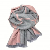 Checked Reversible Blanket Scarf Pink/Grey