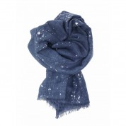 Scarf-Denim Blue Splatter