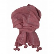 Scarf-Pink Silver Stripe Tassel