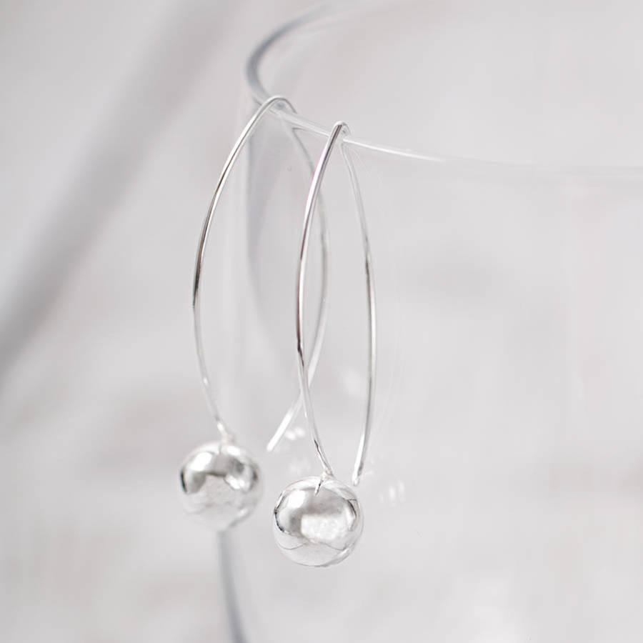 29e33b307e507 Sterling Silver Ball Drop Hook Earrings